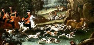 Jagdszene mit Parforcehorn
